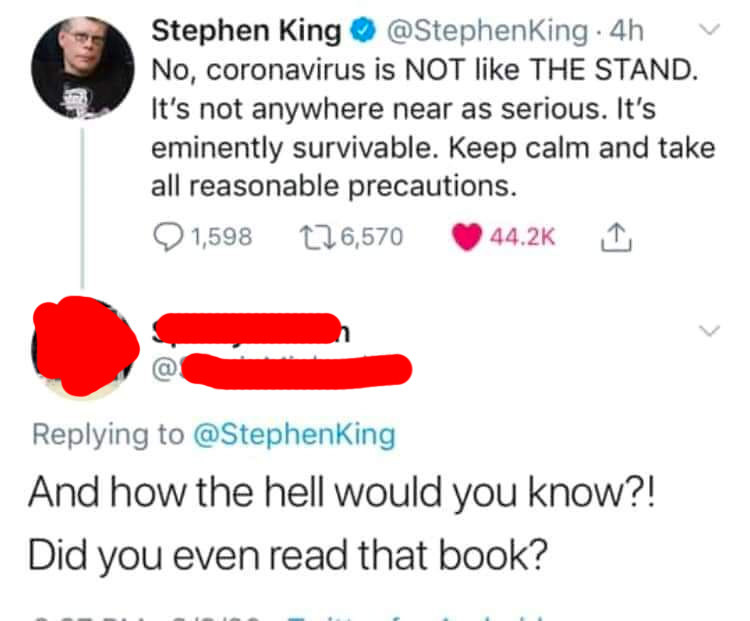 person who asks if stephen king read the stand