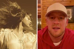 Taylor Swift side by side with JJ Watt