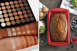 on left an eyeshadow palette being swatched and on right bread in a loaf pan
