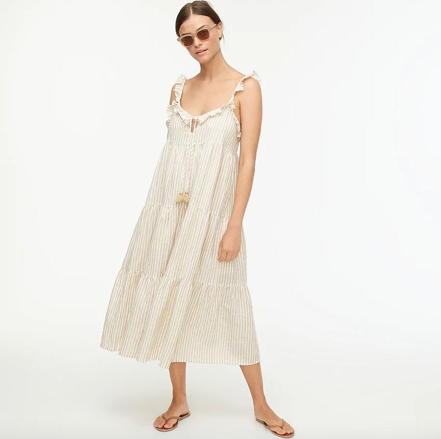 The cotton-linen tiered maxi dress in golden mushroom