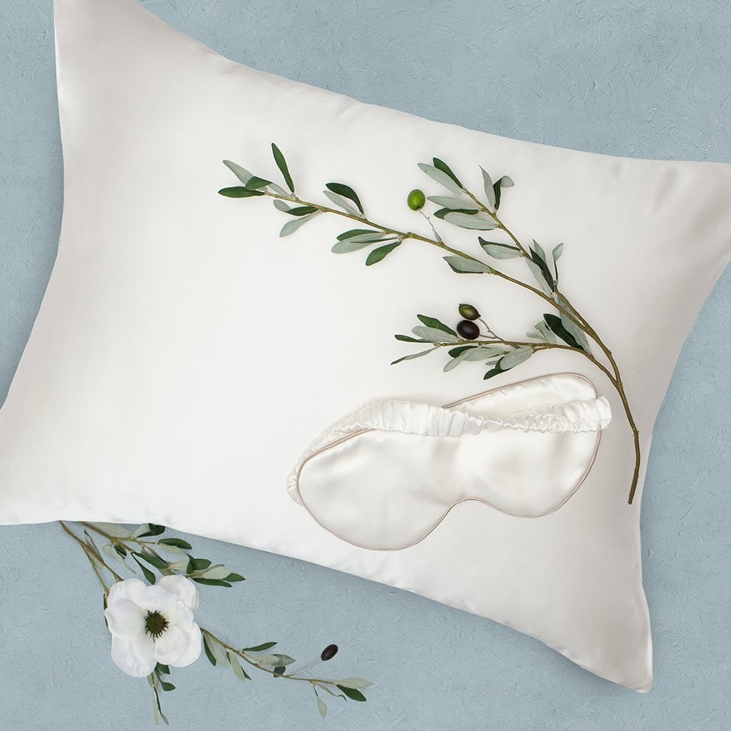 white silk pillowcase and white silk sleep mask