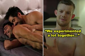 """Side-by-side of Hernando and Lito in bed together in """"Sense8,"""" plus Russell Tovey shirtless in an MTV show"""