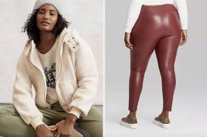 on left model wearing sherpa sweater and on right model wearing burgundy leggings