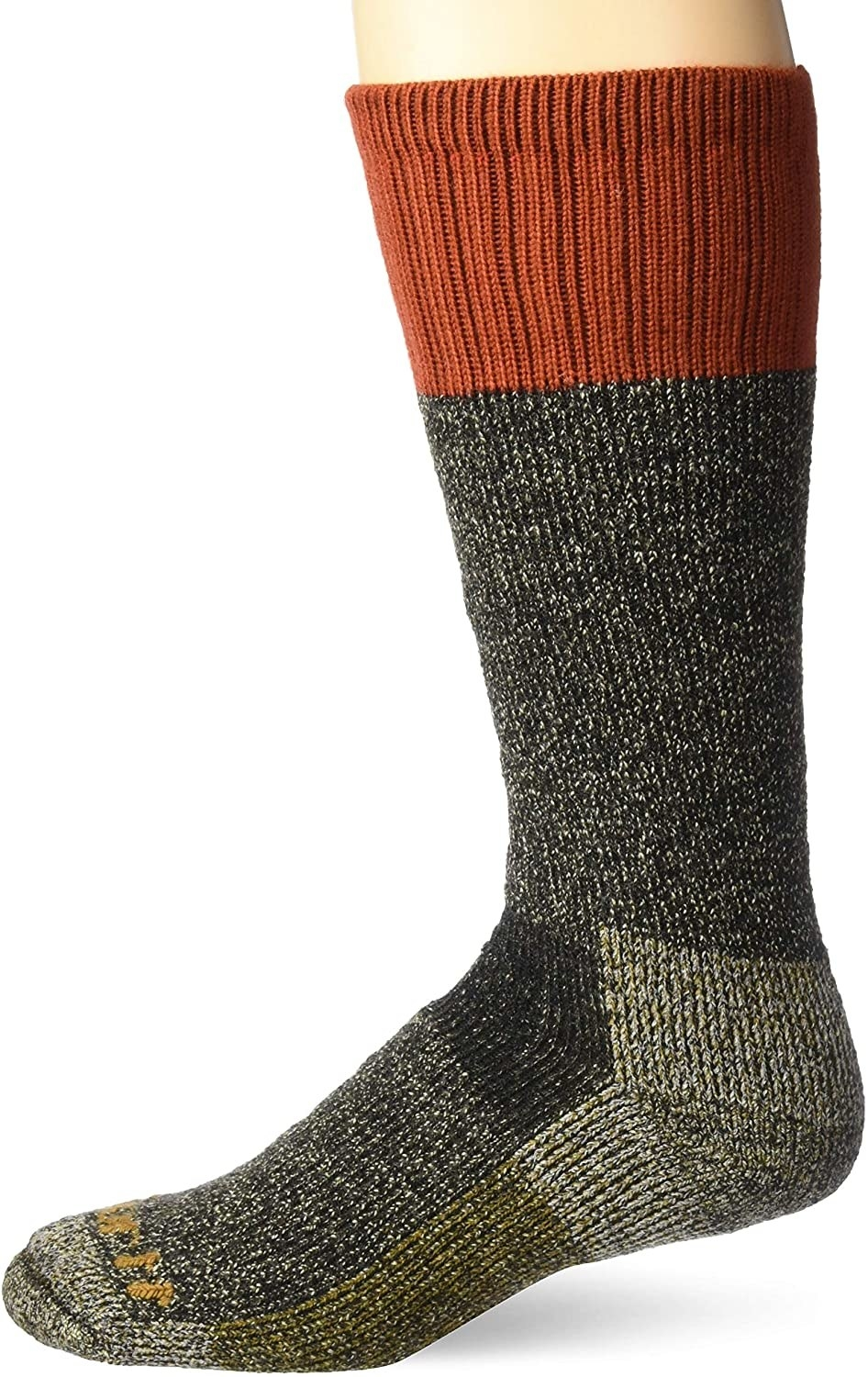 the cold weather sock in a green, gray, and orange color-blocked pattern