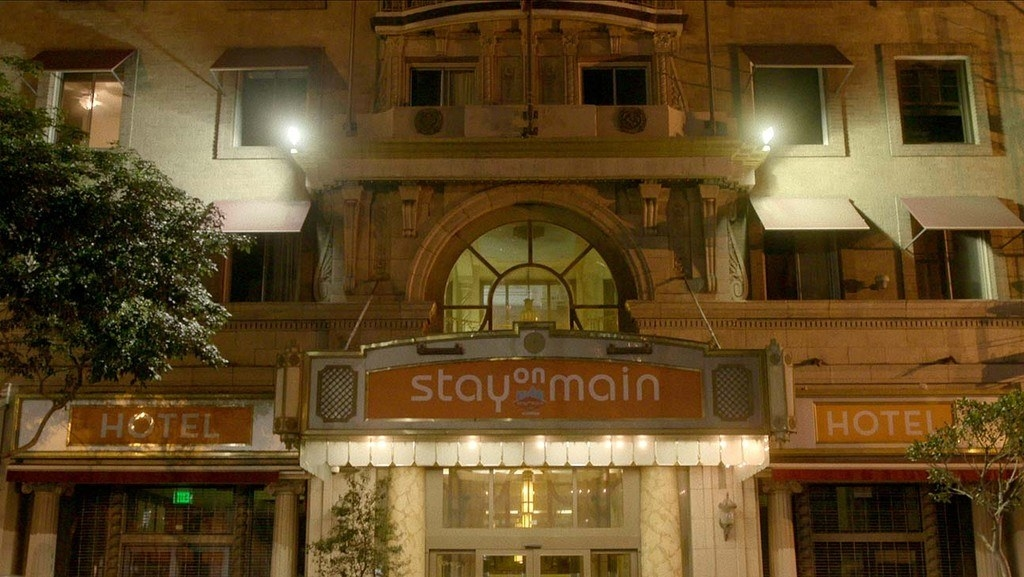A photo of the outside of the Stay on Main