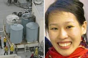 Photo of water tanks on the roof of Cecil Hotel; photo of Elisa Lam