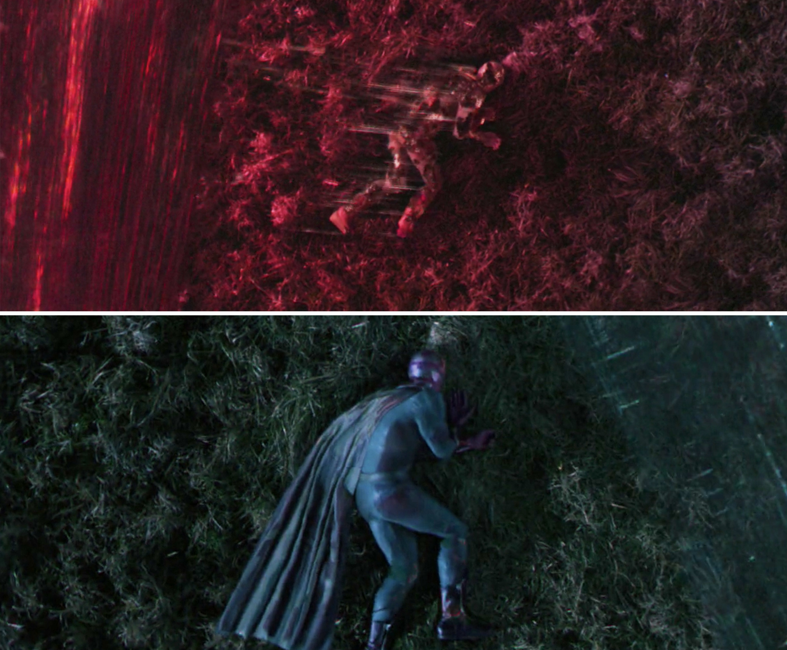Vision's body being torn apart as he lies outside of the Hex