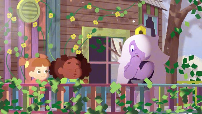 amethyst and two girls standing on a tv set made up to look like a treehouse