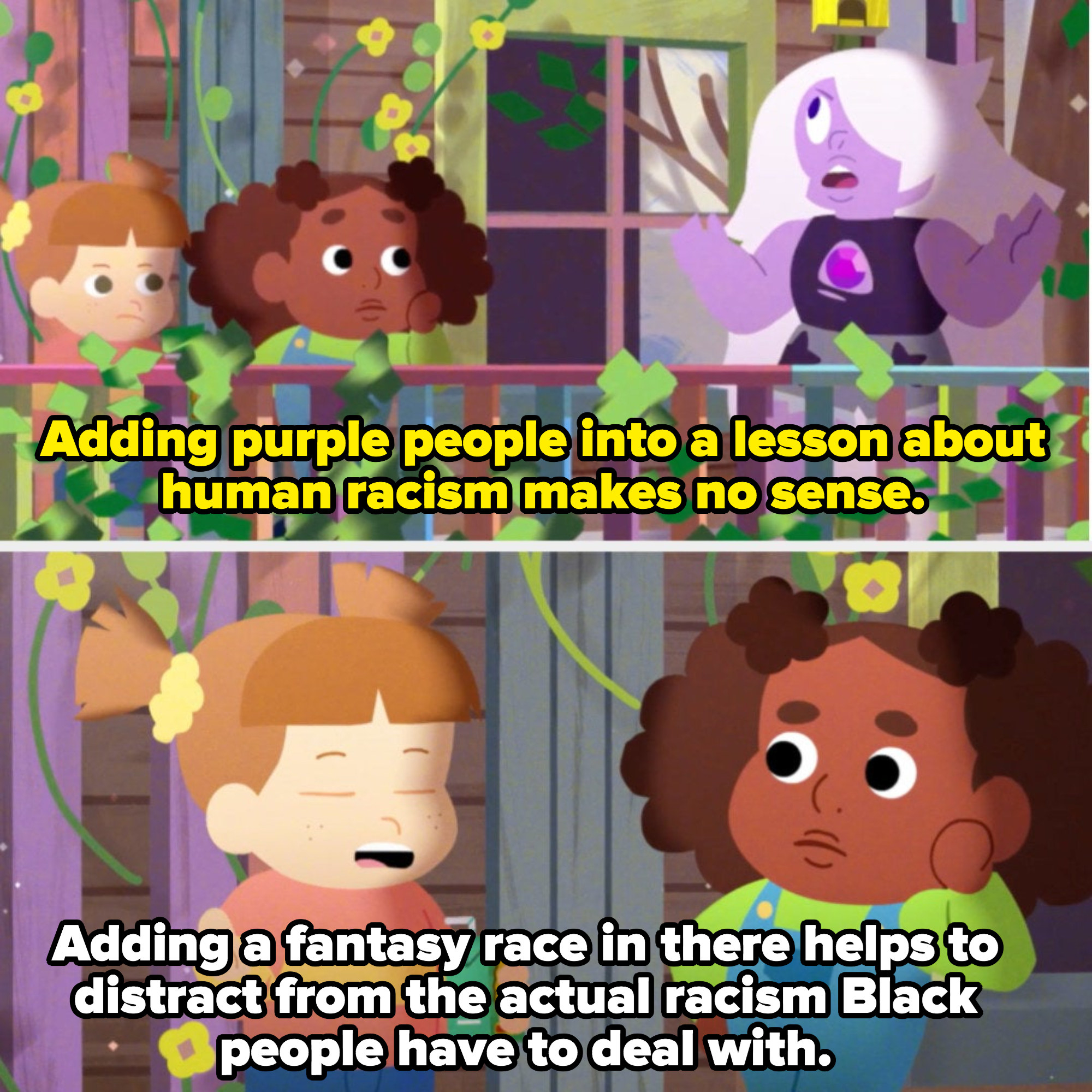 """a child says """"adding a fantasy race in there helps to distract from the actual racism black people have to deal with"""""""