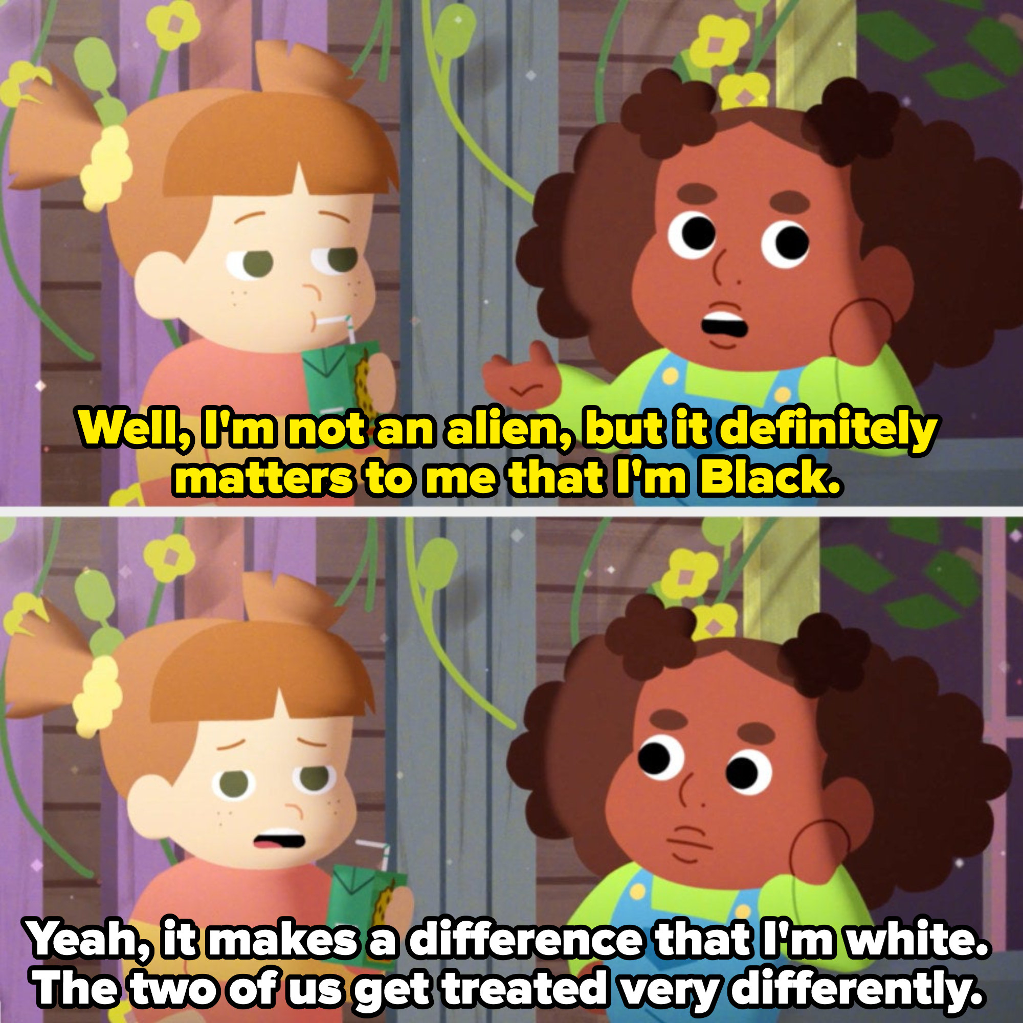 """one child says """"it matters to me that i'm black"""" and the other says """"the two of us get treated very differently"""""""