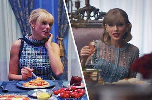 Taylor Swift at a dinner table in two different music videos