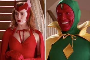 Wanda and Vision in their Halloween costumes