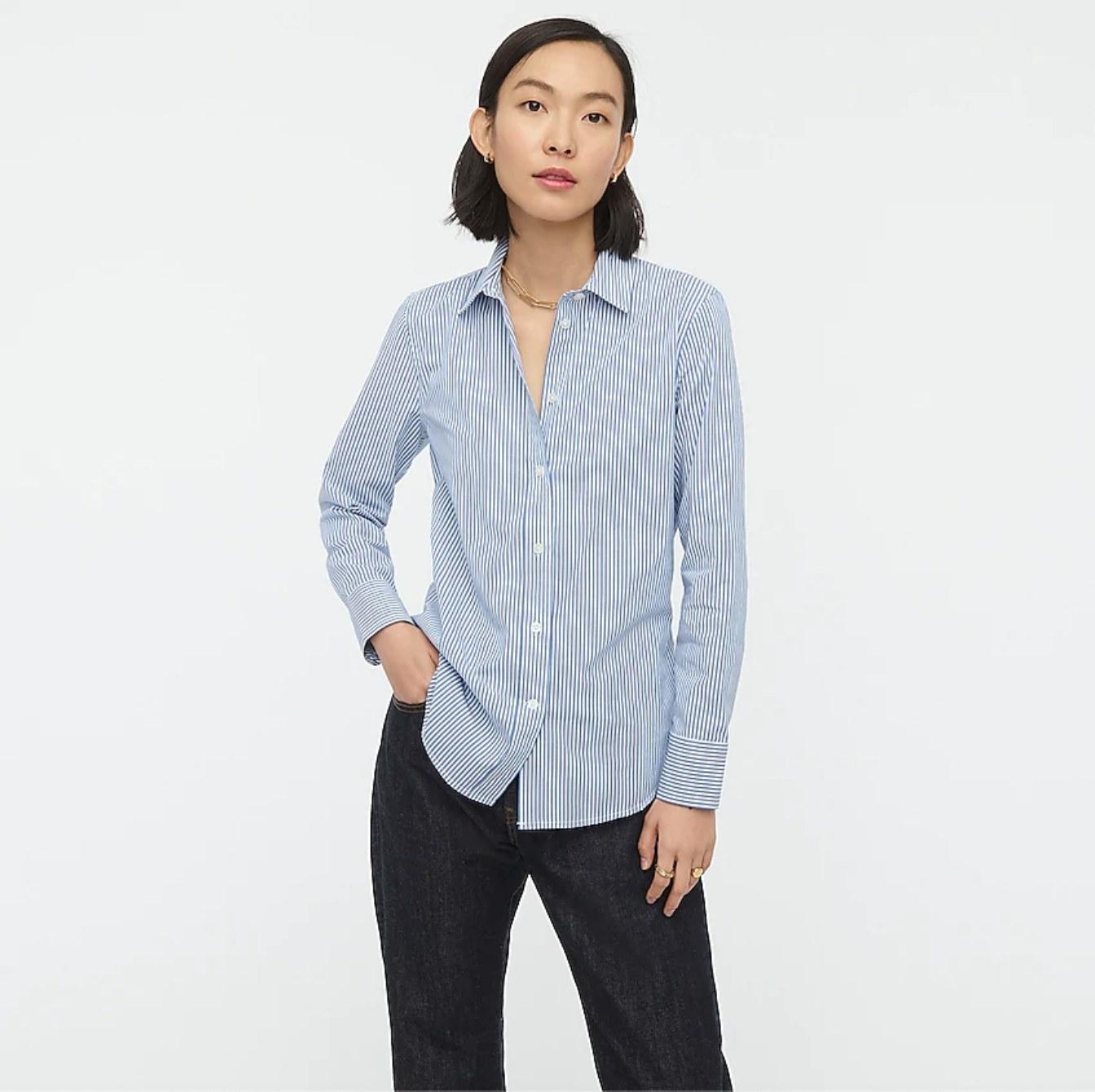 model in blue striped shirt