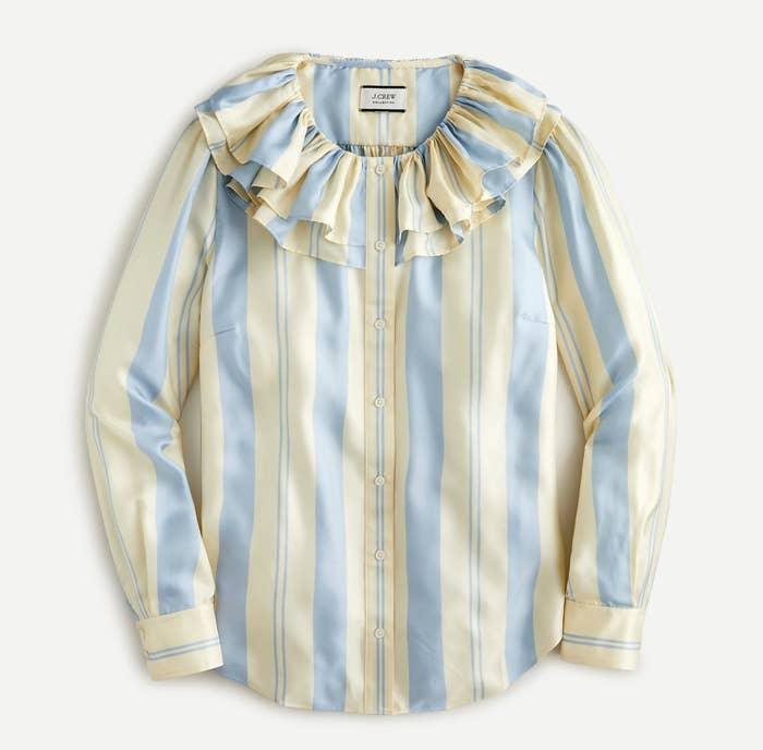 yellow and blue striped button front blouse