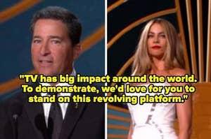 Sofia Vergara and Bruce Rosenblum at the Emmy awards