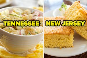 """Potato salad labeled """"Tennessee"""" and corn bread labeled """"New Jersey"""""""