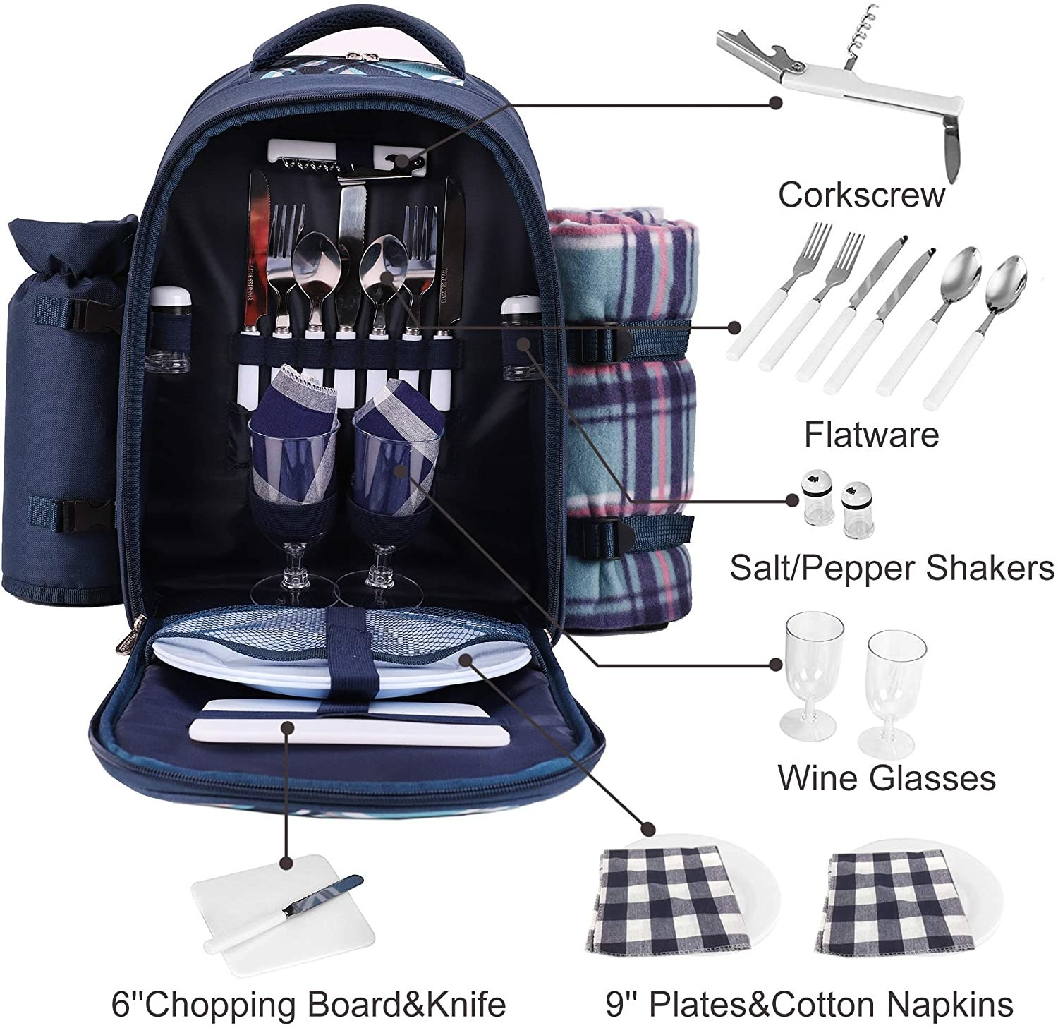 the open backpack with compartments for a variety of dining and eating items needed in a picnic
