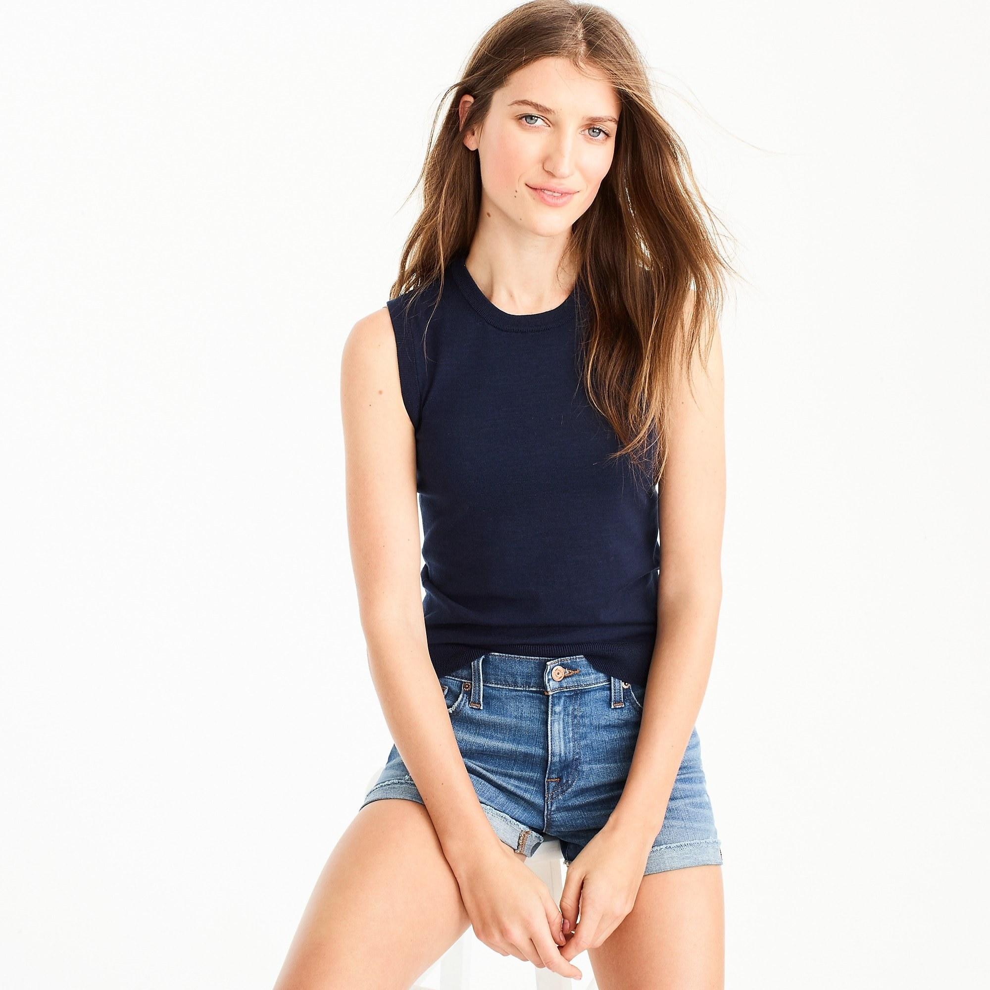 model wearing navy shell