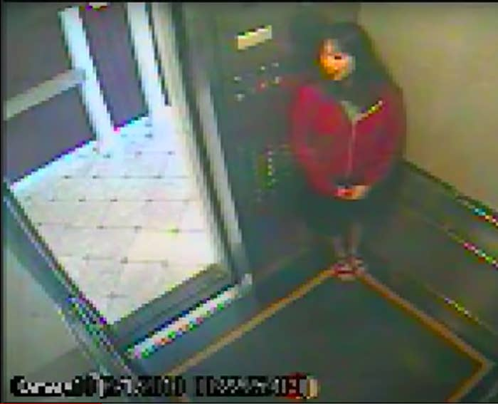 A woman stands in the corner of an elevator, staring toward the open door, in this pixelated screenshot from a security camera