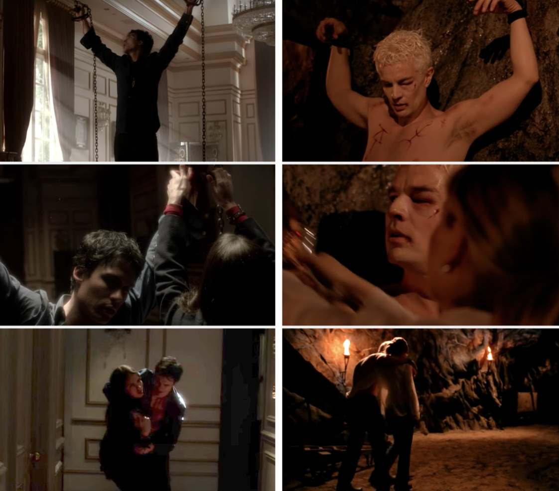 Elena rescuing a chained up Damon and Buffy rescuing a chained up Spike