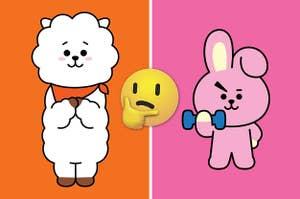 La mitad izquierda tiene al personaje de RJ y la mitad derecha tiene al personaje de Cooky