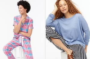 model in plaid pjs and a model in a blue sweater