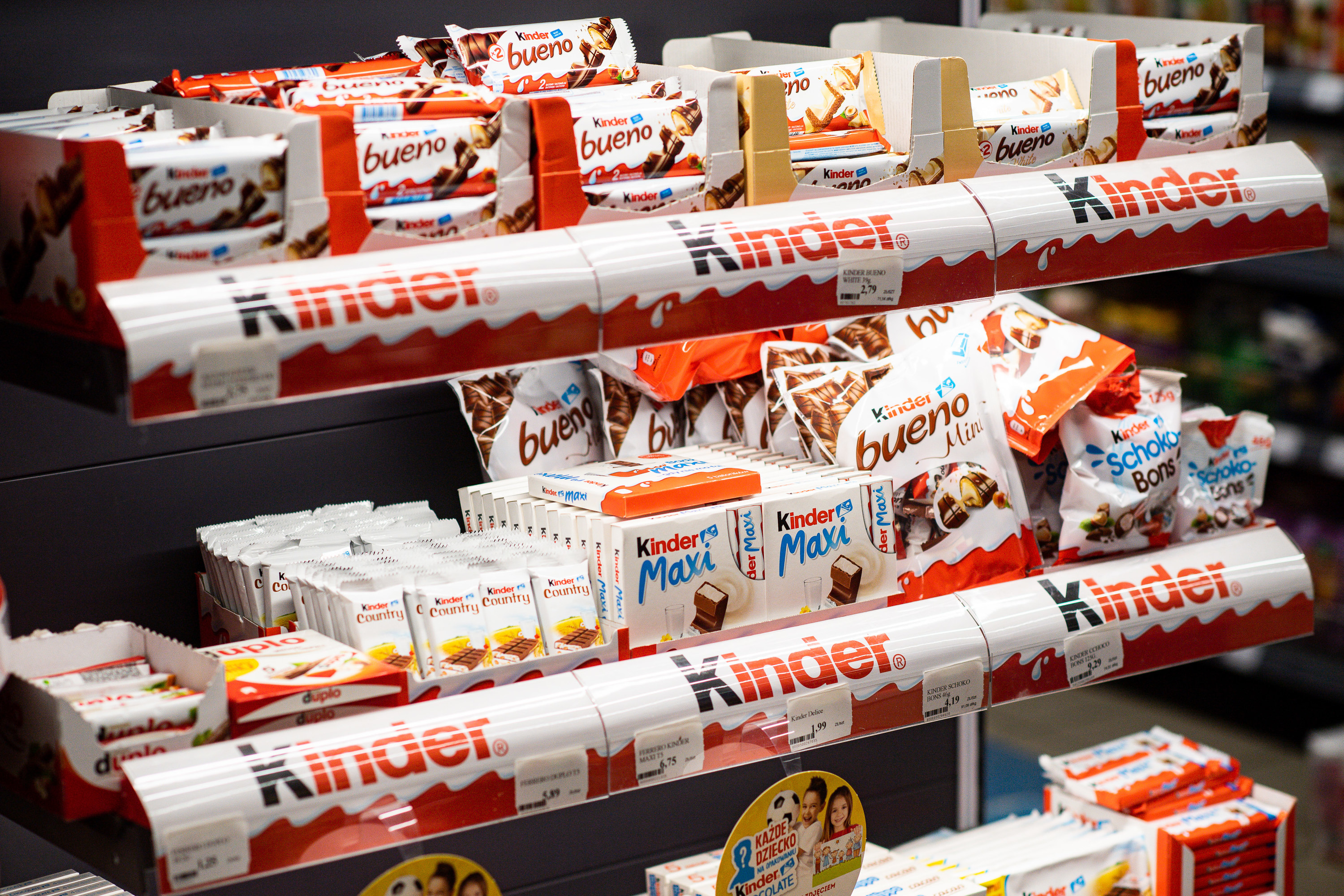 Kinder chocolate on display at a store