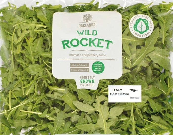 In Italy, a bag of arugula labeled as 'Wild Rocket'