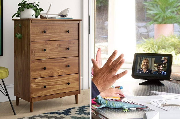 (left) Wood set of drawers (right) Echo Show