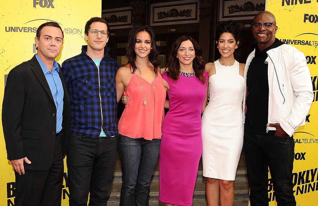 "Joe Lo Truglio, Andy Samberg, Melissa Fumero, Chelsea Peretti, Stephanie Beatriz and Terry Crews attend the ""Brooklyn Nine-Nine"" steak-out block party"