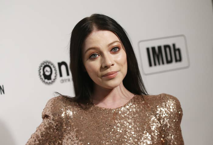 Michelle Trachtenberg in a sequined gown at the Elton John AIDS Foundation Academy Awards Viewing Party in West Hollywood