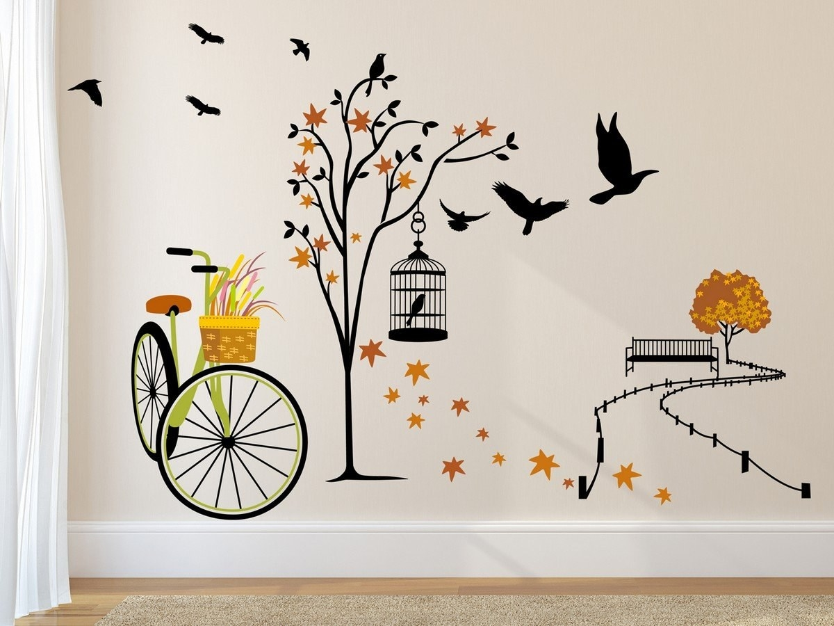 A wall sticker on a white wall