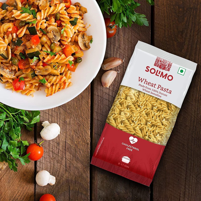Durum wheat pasta on a table