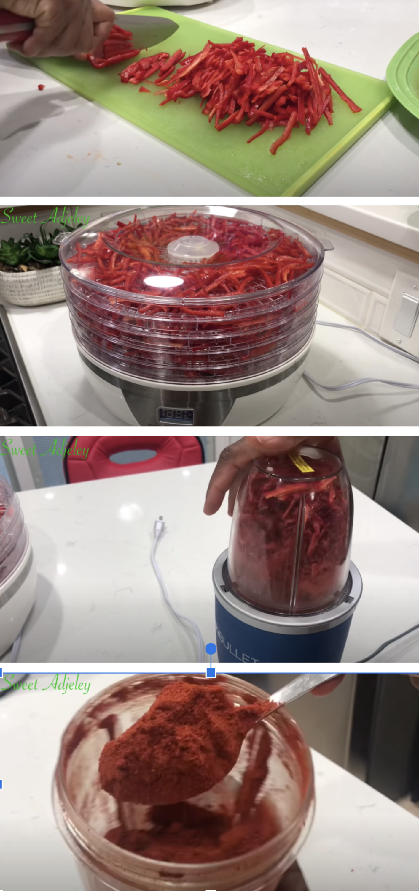 Red peppers being sliced, dehydrated, and pulsed into Paprika