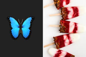 A butterfly emoji is on the left with 5 raspberry popsicles on the right