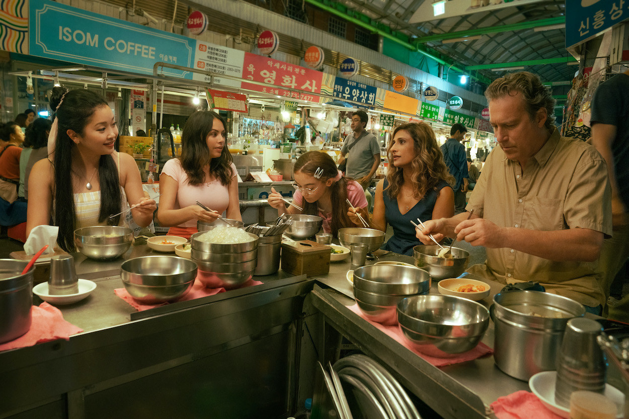 The Covey's eating in a market in Korea