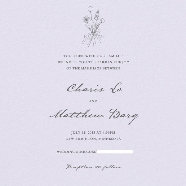 Simple wedding invitation made on Paperless Post