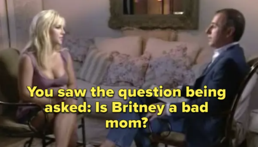 """Matt Lauer saying in an interview with Britney, """"You saw the question being asked: Is Britney a bad mom?"""""""