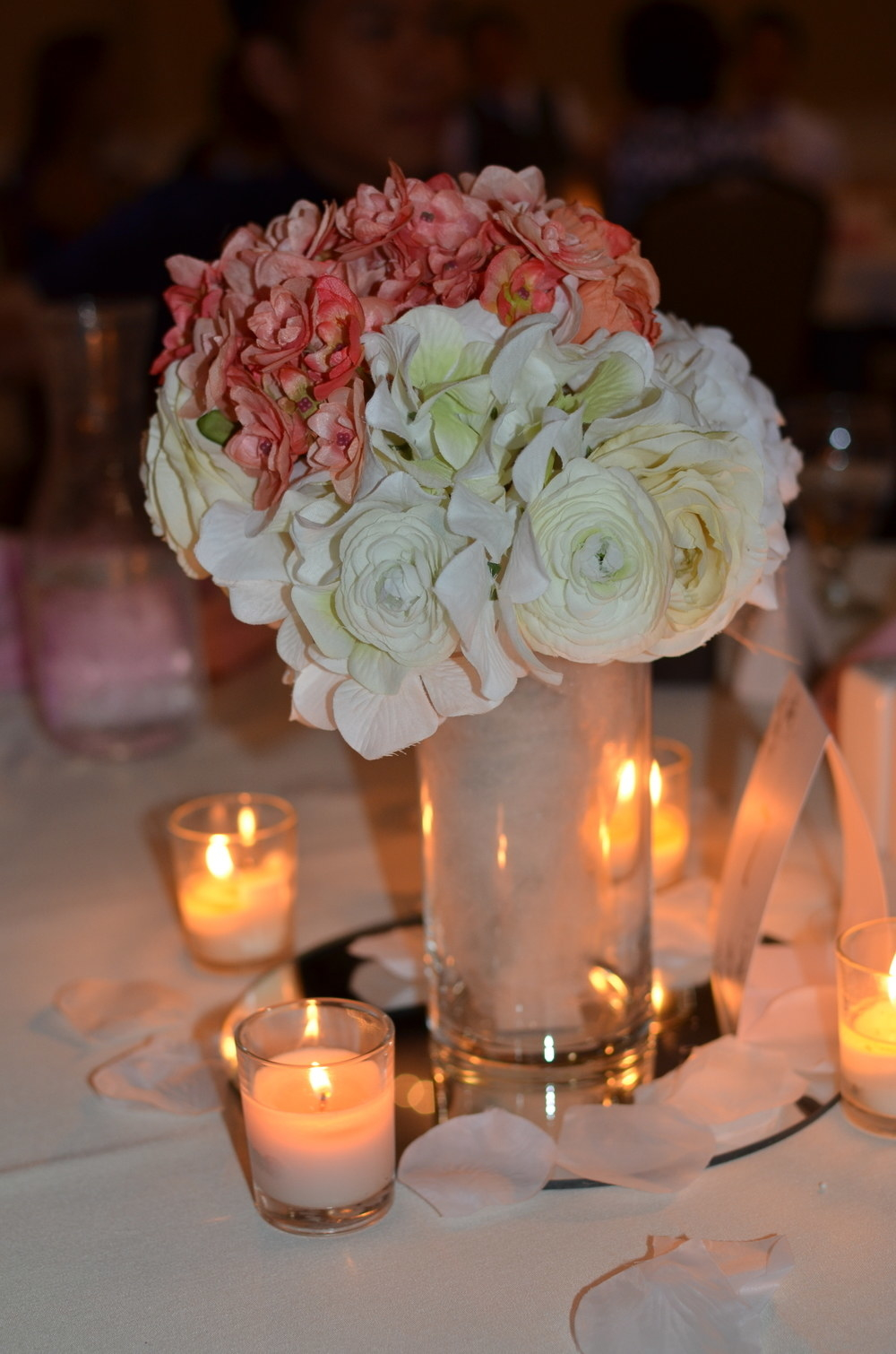 Centerpiece with flowers and candles