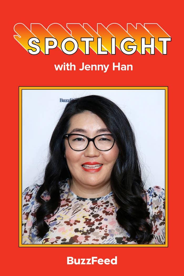 A photo of Jenny Han, who wears eyeglasses, with the caption: Spotlight with Jenny Han