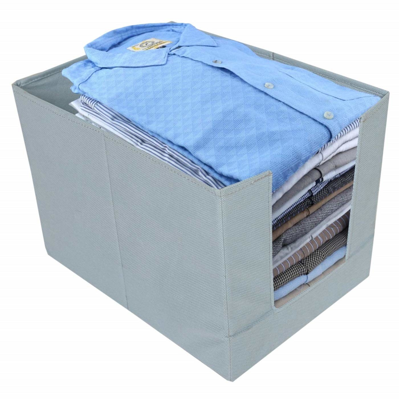 A wardrobe organiser with clothes in it