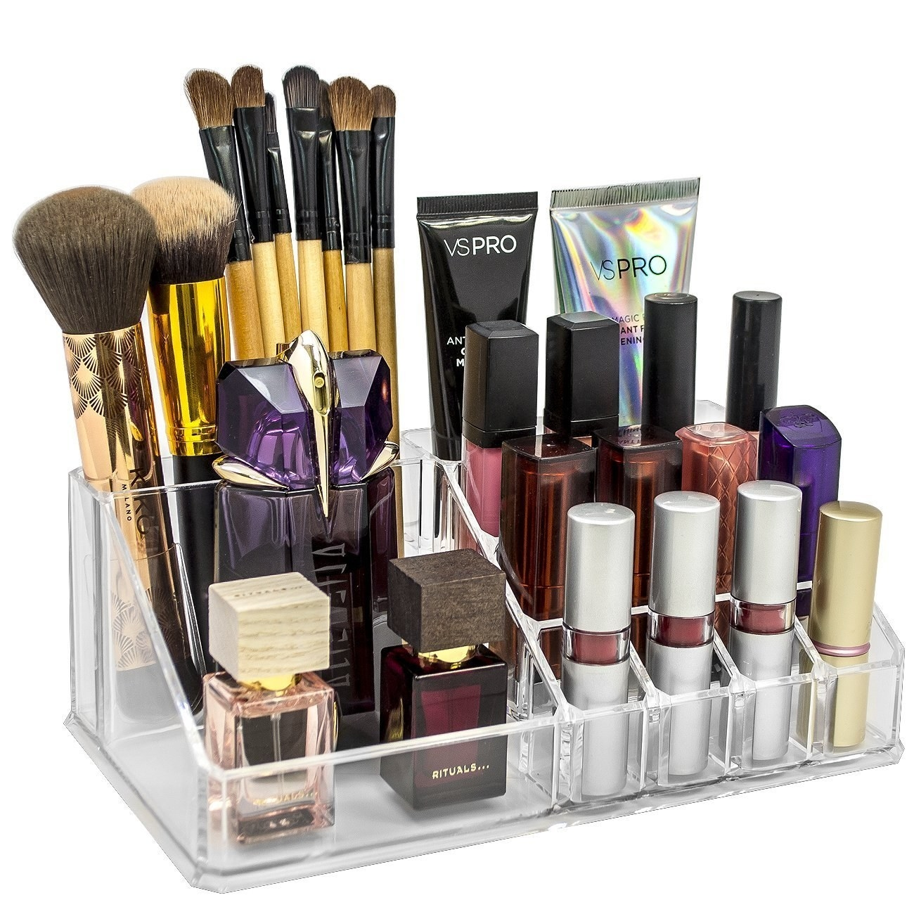 A makeup organiser with makeup in it