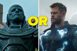 """An X-Men character is on the left with an Avenger on the right and """"or"""" written in the center"""