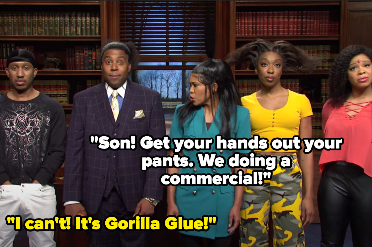 """Regina says """"Son! Get your hands out your pants. We doing a commercial!"""" to which he responds """"I can't! It's Gorilla Glue!"""""""