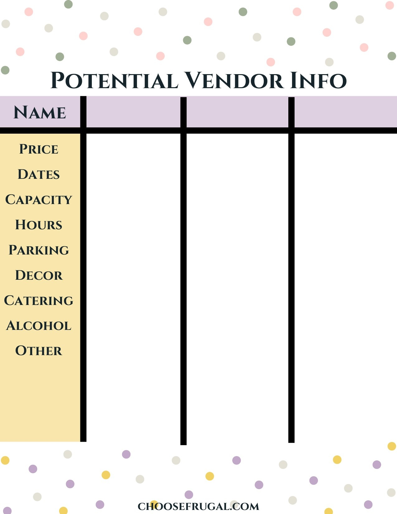 Blank potential vendor template
