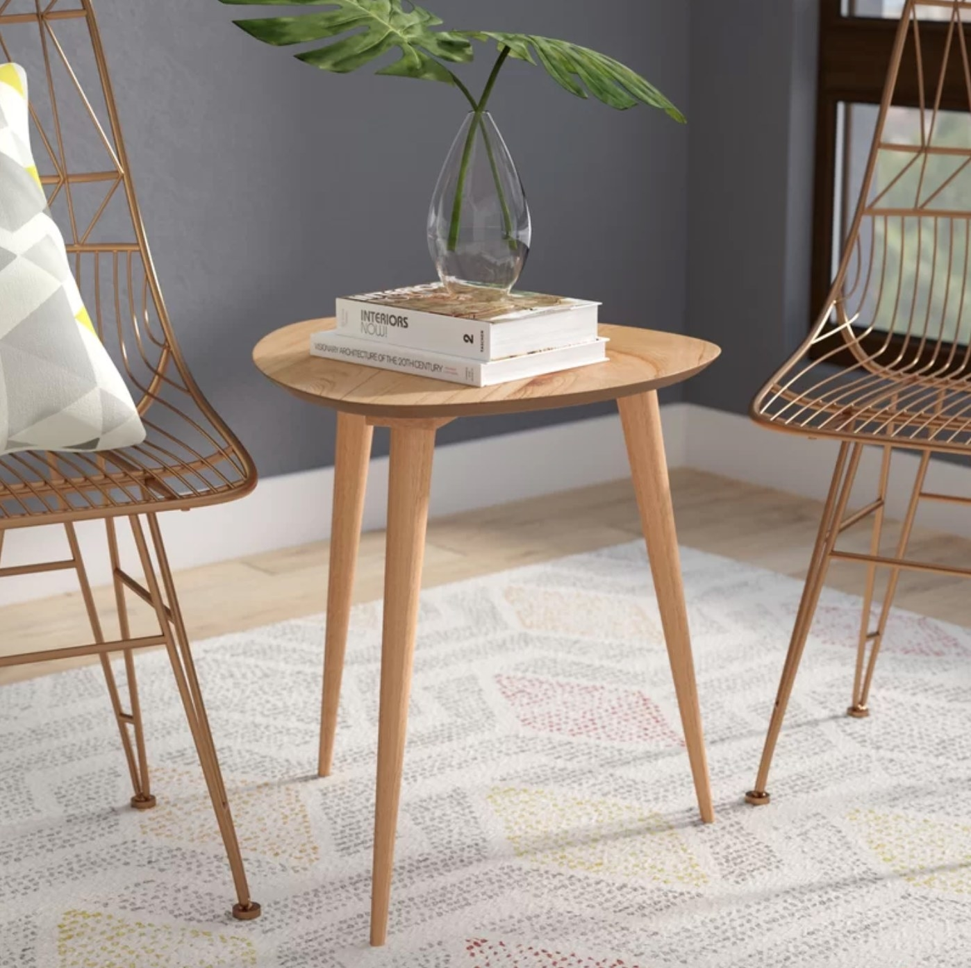 The wood end table in natural