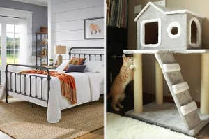 on left a metal bed frame and on right a cat house