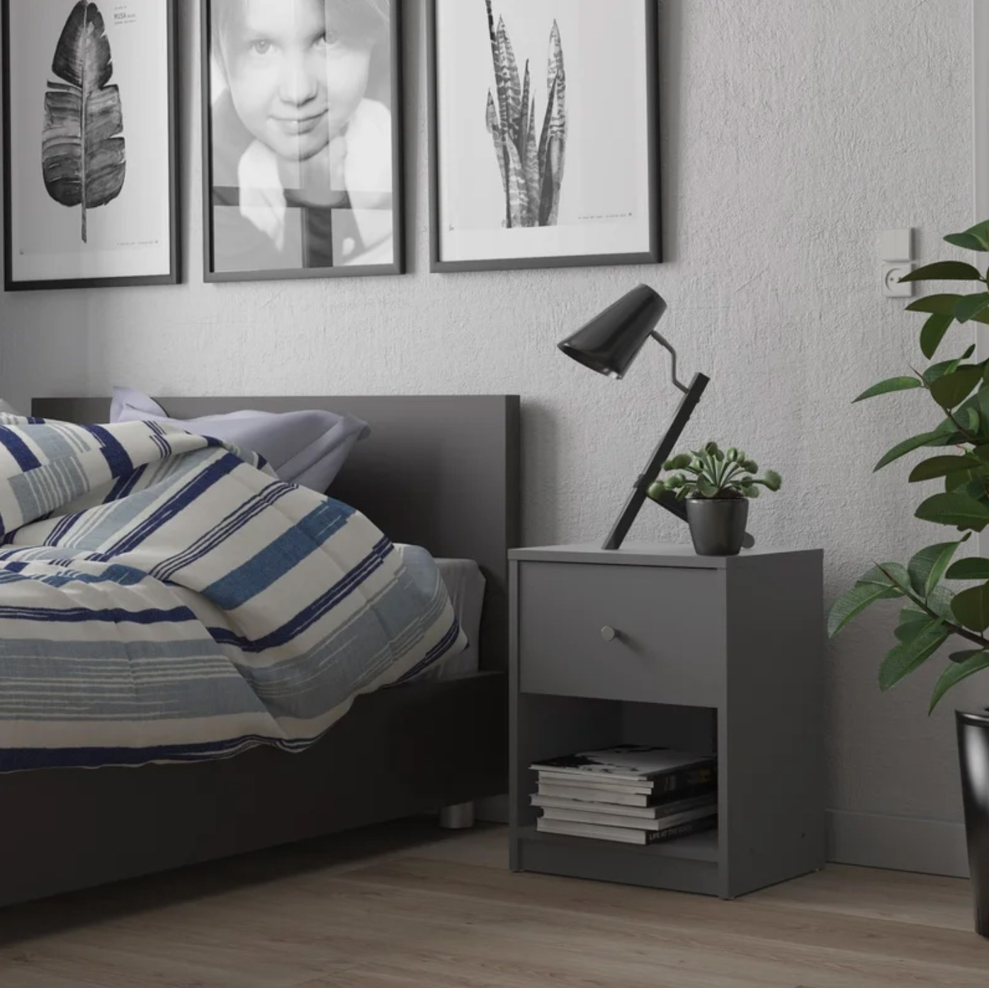 The one-drawer nightstand in gray