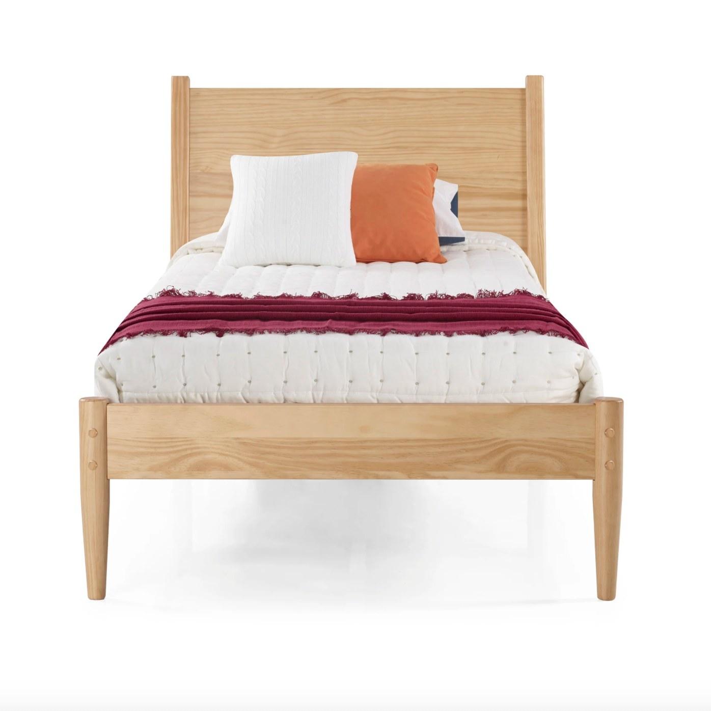 The platform wood bed frame in Scandinavian oak