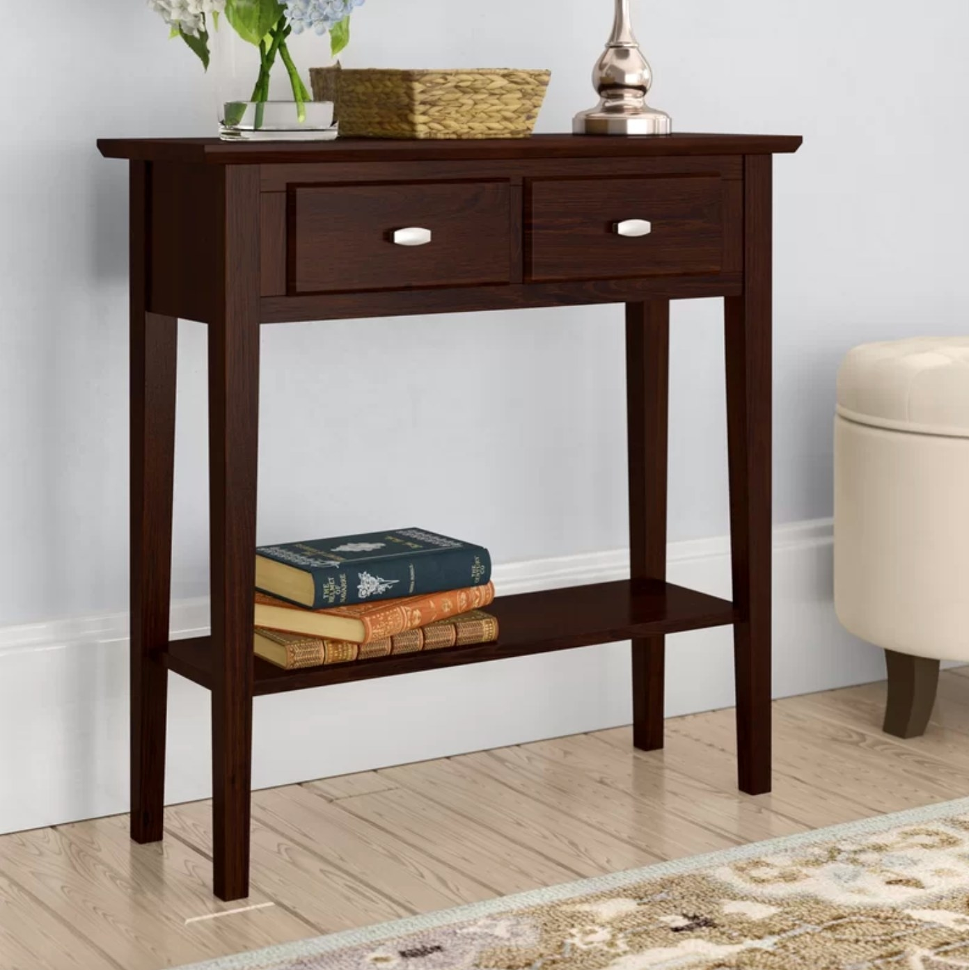 The solid wood console in chocolate oak
